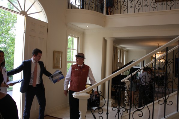 Out there today taking the market temperature and looking at more on and off markets. Now is young gun Ollie Booth, here at 53 St Georges Road Toorak, asking me to leave or showing me a new dance step. The real auction fun and games, begin in earnest next week