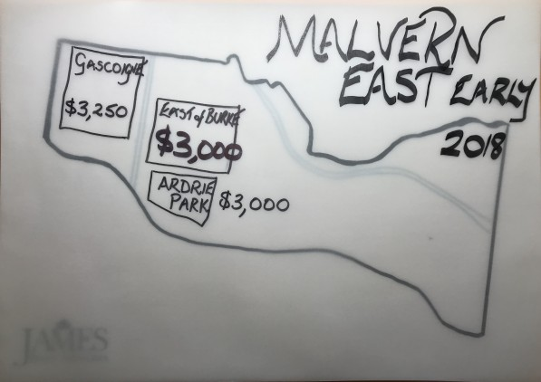 James $ per square metre prices we are using for Malvern East land Dec 2017 to Feb 2018. Full tables available for James Buy/Sell clients.